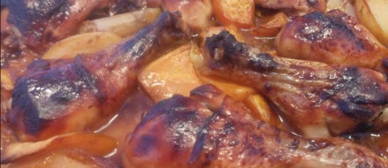 עוף בתנור עם בטטות ברוטב דבש סויה ושום בטעם אסייתי