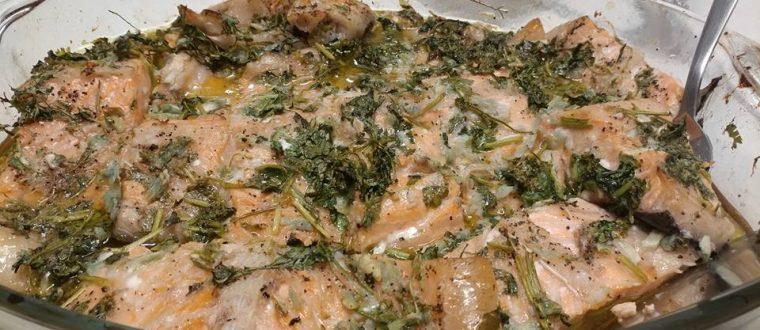 מתכון לדג סלמון טרי בעשבי תיבול בתנור הכי טעים שיש